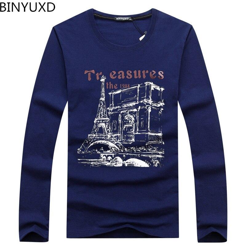 BINYUXD Heißer verkauf Neue Reine Baumwolle Modemarke Designer Casual Langen Hülsen-druck-t-shirt Hochwertige Männer T-shirt