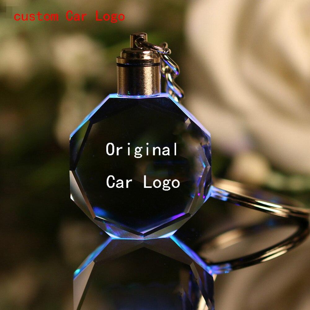 Leuchtende keychain Auto Schlüssel Kette Ring Cut Glas Auto Logo kristall Schlüssel Halter Ring Schlüsselring