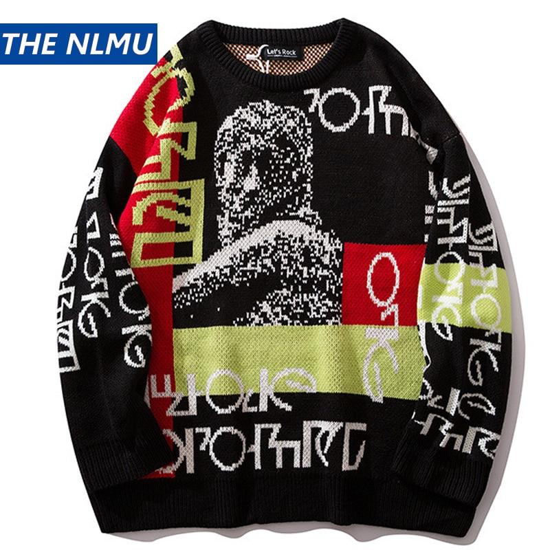 2019 suéteres para hombres Streetwear Pullover cuello redondo manga larga moda Hip Hop hombres otoño Harajuku suéteres para pareja suelta HZ132