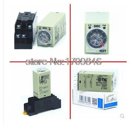 Relé de tiempo de retardo de 24V CC H3Y-2 H3Y 0-3S 10S 30S 60 segundos 24VDC y Base