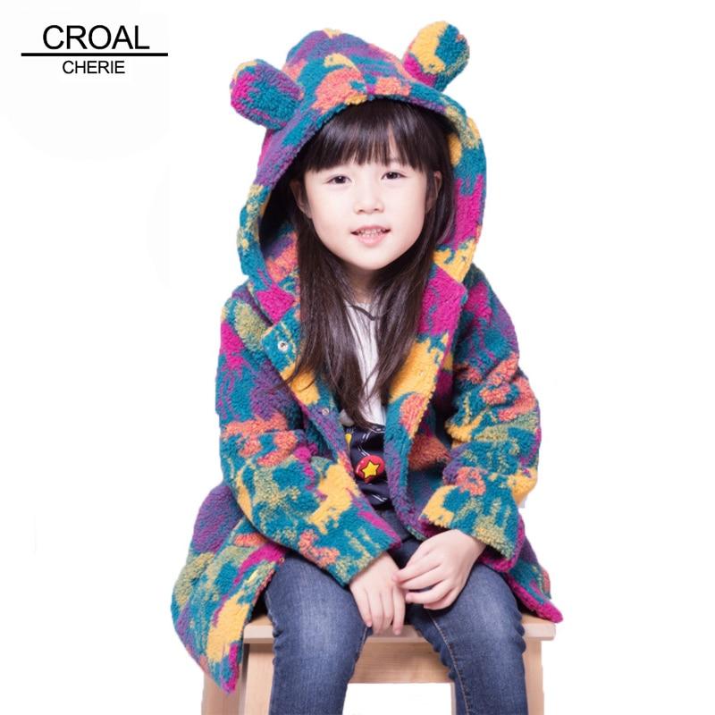 100-160cm Kids Warm Velvet Fleece Girls Winter Coat Colorful Childrens Winter Jacket For Teenage Girls Boy Cute Ear Windbreaker