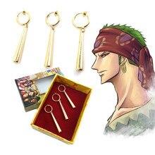 3PCS/1SET One Piece Pirate Hunter Roronoa Zoro Cosplay Costume Accessories Ear Drop Dangle Earrings Jewelry Metal Pendant