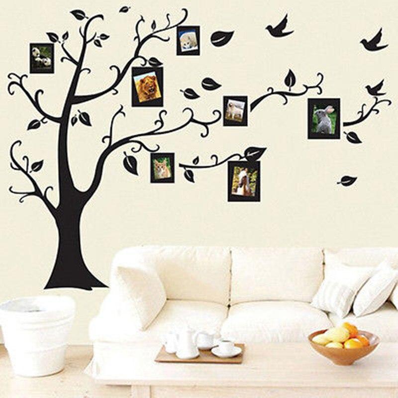 Съемная Наклейка на стену с черным деревом, модные виниловые наклейки для украшения дома и семьи