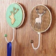 Wood Elk Strong Glue Stick Hook Creative Wall Hanging No Nail Trace Sticky Hook Wall Door Coat Hook Hanger Holder