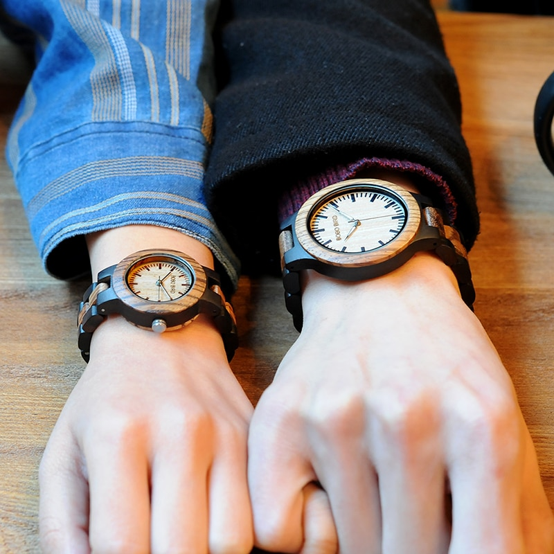 BOBO BIRD-ساعة يد خشبية فاخرة ، إبر مضيئة ، صناعة يدوية