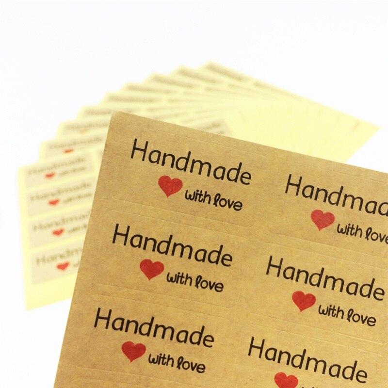 120 teile/los Handmade mit liebe Kraft papier Herz Klebstoff Backen Dichtung verpackung Aufkleber etiketten