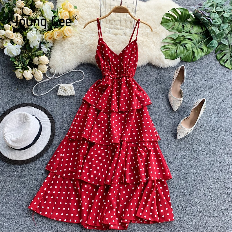 Young GEE, vestido de verano de mujeres, Sexy V cuello espaguetis Correa 4 capas volantes Vestidos damas Casual playa pastel vestido Vestidos
