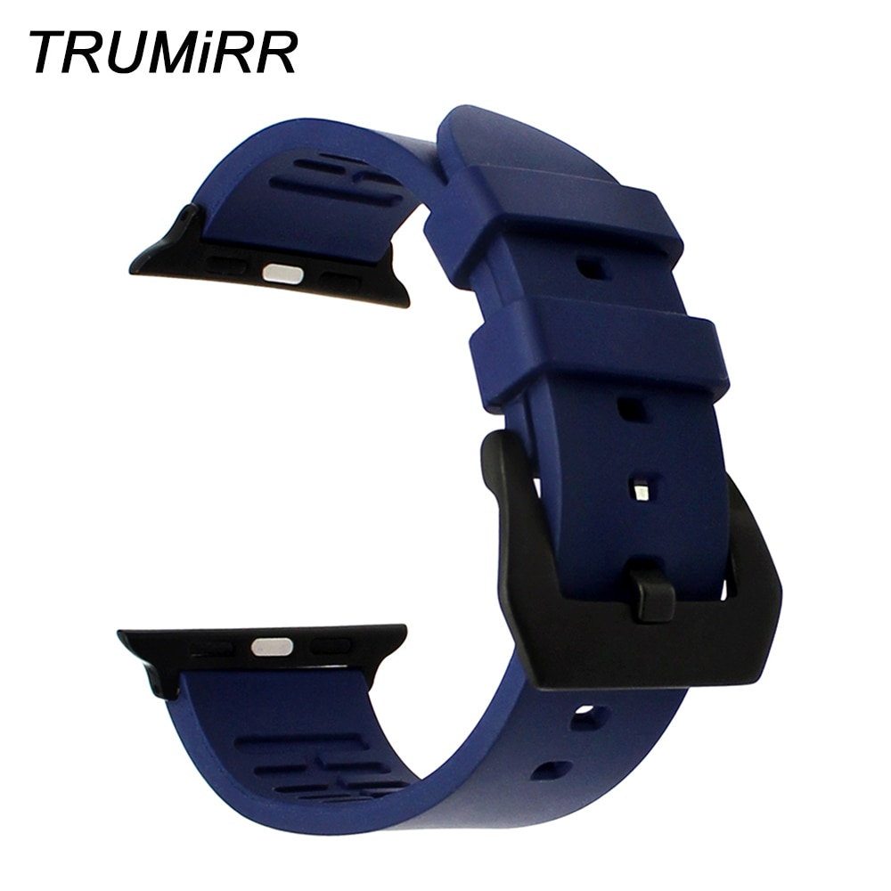 Fluororubber Rubber Watchband for iWatch Apple Watch 38mm 40mm 42mm 44mm Series 5 4 3 2 1 Wrist Band Sports Strap Resin Bracelet