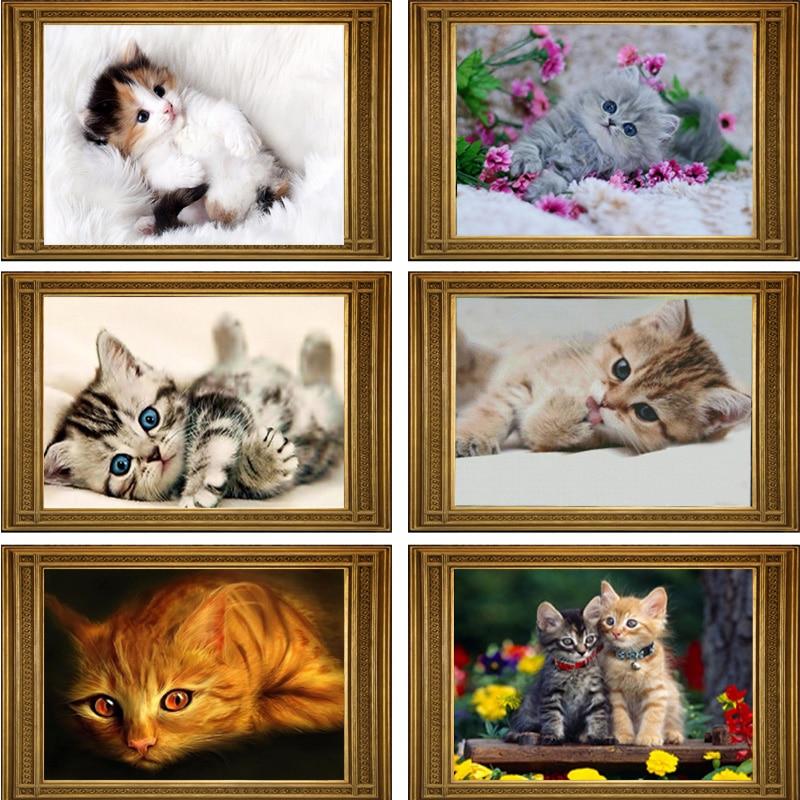 40*30cm DIY 5D diamantes mosaico gatos de dibujos animados pintura de diamante hecha a mano Cruz puntada kits bordado Diamante de diamantes de imitación