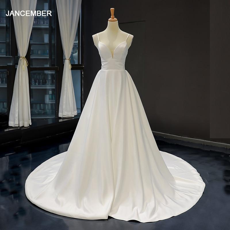 J66837 jancember vestido de novia de línea a sin mangas cuello en...