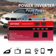 4000 w carro inversor de energia solar onda senoidal led 4 usb dc12/24 v para ac110v/220 v conversor de onda senoidal inversor energia solar automóveis
