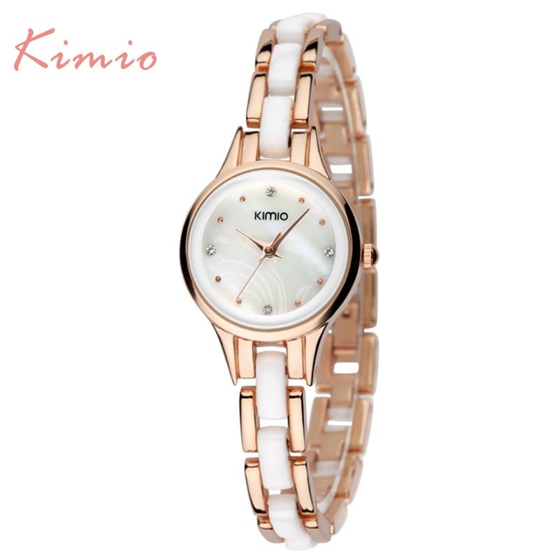 Kimio marca diamante horas reloj femenino damas completo acero plata Vestido Mujer chica relojes de cuarzo pulsera reloj de pulsera con caja