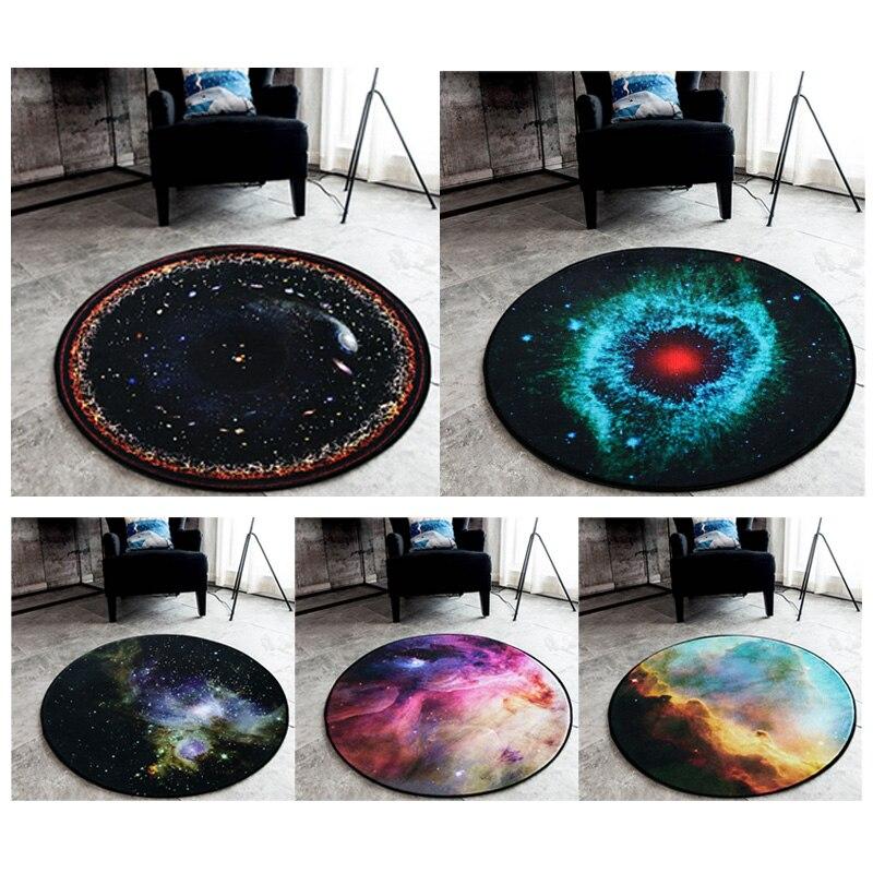 Alfombra de felpa redonda universo creativo planeta cielo estrellado tierra sala de estar dormitorio decoración alfombra niños jugar carpas gatear alfombras