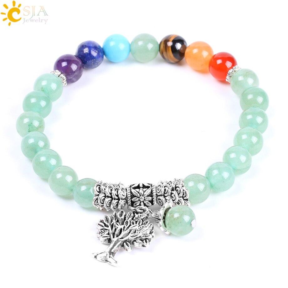 CSJA Natural Green Aventurine Rainbow 7 Chakra Beads Yoga Bracelets Hot Sell Healing Bangles Life Tree Women & Men Jewelry F127