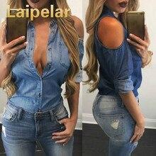 Laipelar 2018 New Fashion Women Denim Shirt Long Sleeve Cold Shoulder Casual Female Shirt Jean Top Sexy Street Wear