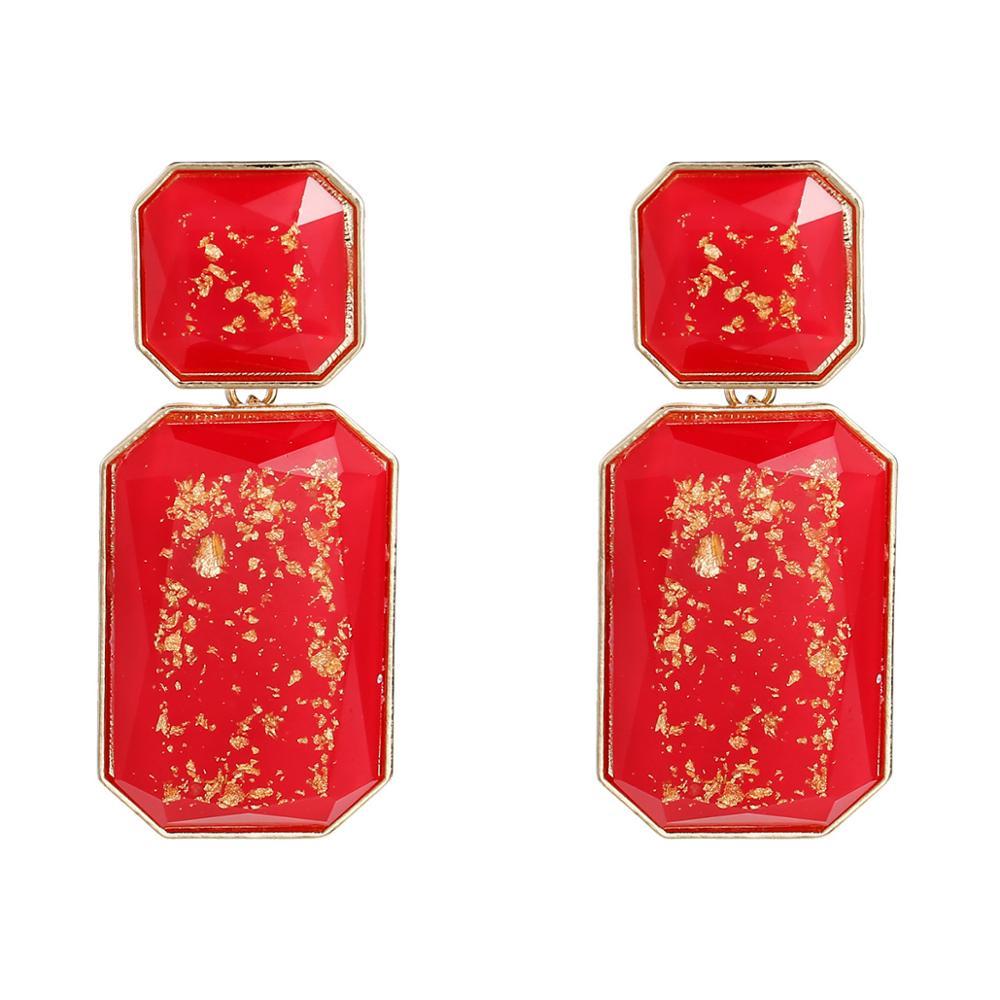 KMVEXO Korean Summer Golden Foil Geometric Acrylic Rectangle Drop Earrings for Women 2019 Resin Bump Party Beach Earring Jewelry