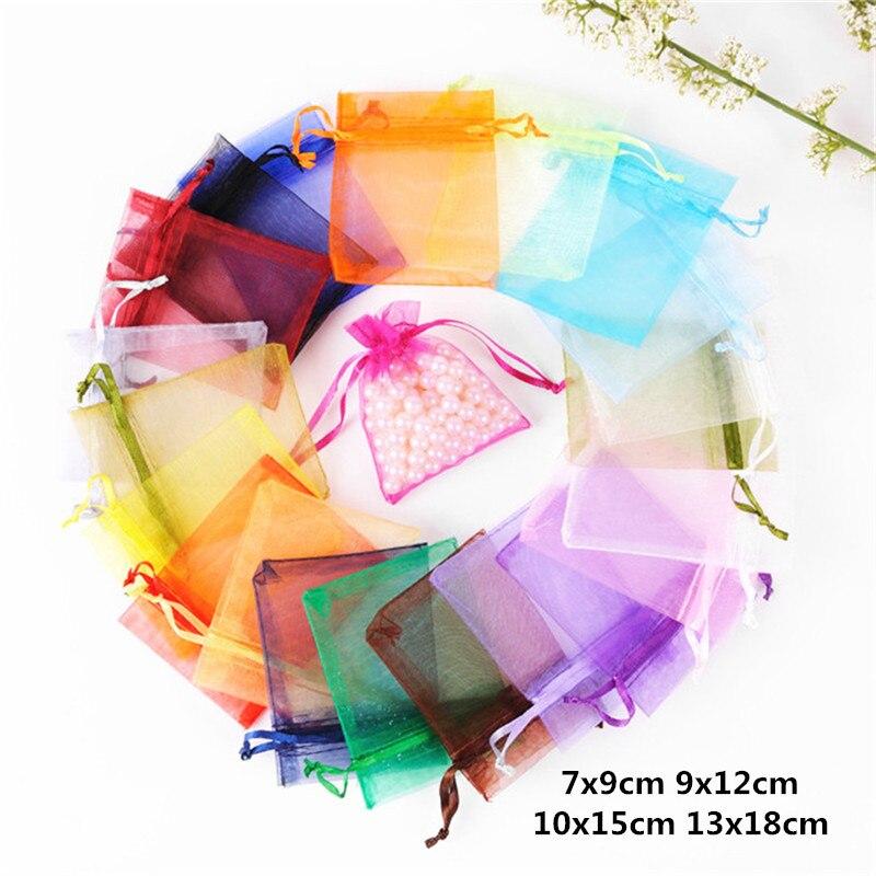 10 Uds 7x9 9x12 10x15x13x18 cm bolsas de Organza, bolsas para boda joyería bolsas de embalaje para decoración de cumpleaños Regalos suministros de fiesta bolsa