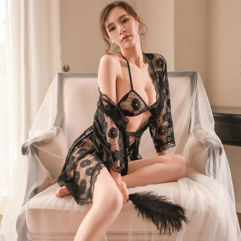 Conjunto de 3 uds. De camisón de noche, camisón Sexy con encaje de ganchillo, Camisola, lencería, camisón, ropa de dormir