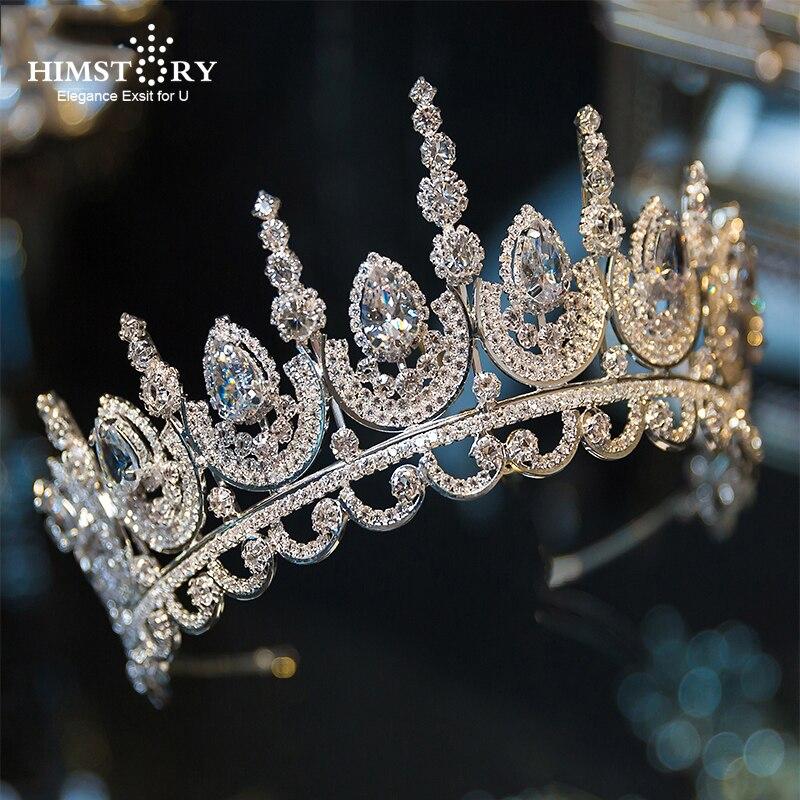 Himstory, красивая тиара принцессы с кубическим цирконием, свадебная корона со стразами, маскарадная корона для невесты, повязка на голову