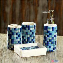 4 pcs/set Fashion Mosaics Ceramic bathroom accessories set Sanitary Combination wash tool Hot Sale