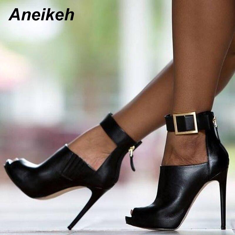 Aneikeh 2018 NEW Women Pumps Burst Metal Buckle High-heel Fish Mouth Cool Boots Spring Summer High Heels Sandals Shoes Woman