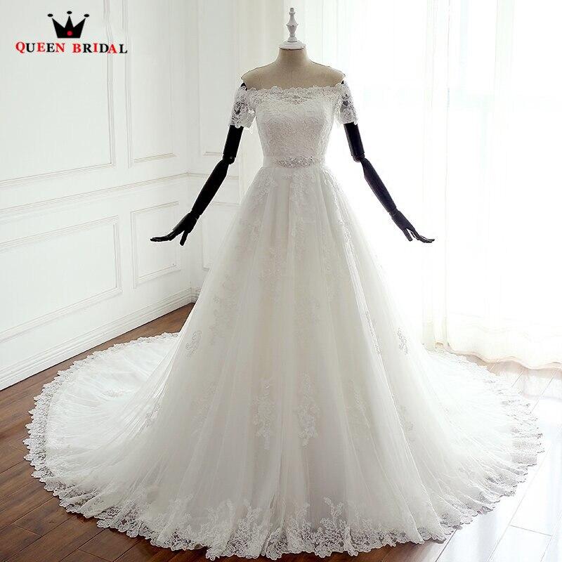 Custom Made A Linha de Manga Curta Lace Belt Elegante Longo Casamento Romântico Vestidos de Noiva Vestidos de Noiva Casamento LP17