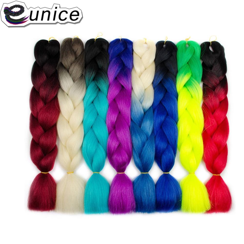 Eunice 24inch Jumbo Braids Crochet Hair 100g/Pack Synthetic Blonde Long Ombre Braiding T1B/4/27