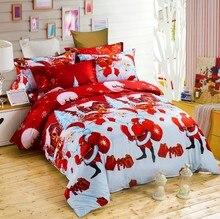 hot sale Christmas gift santa claus cartoon queen size bedding bedlinen bedclothes duvet cover set bedding set