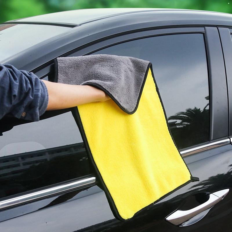 1PCS Easy Clean Car Care Polishing Wash Towel Plush Microfiber Washing Dry Towel Thick Plush Polyester Fiber Car Cleaning Cloth