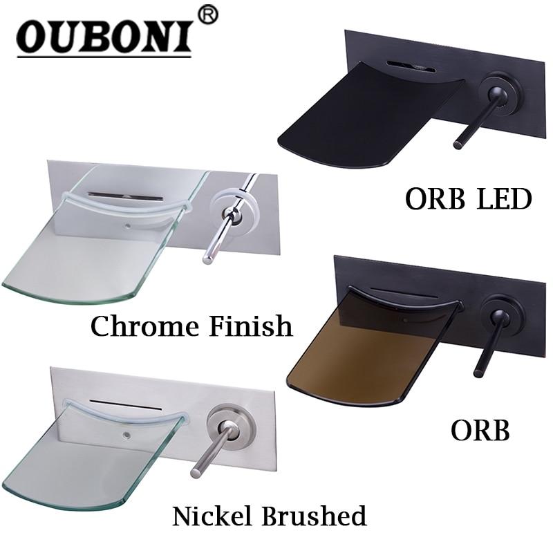 OUBONI-صنبور حوض الاستحمام المثبت على الحائط من النحاس الصلب ، صنبور حمام LED من الكروم المصقول ، خلاط مياه من النيكل