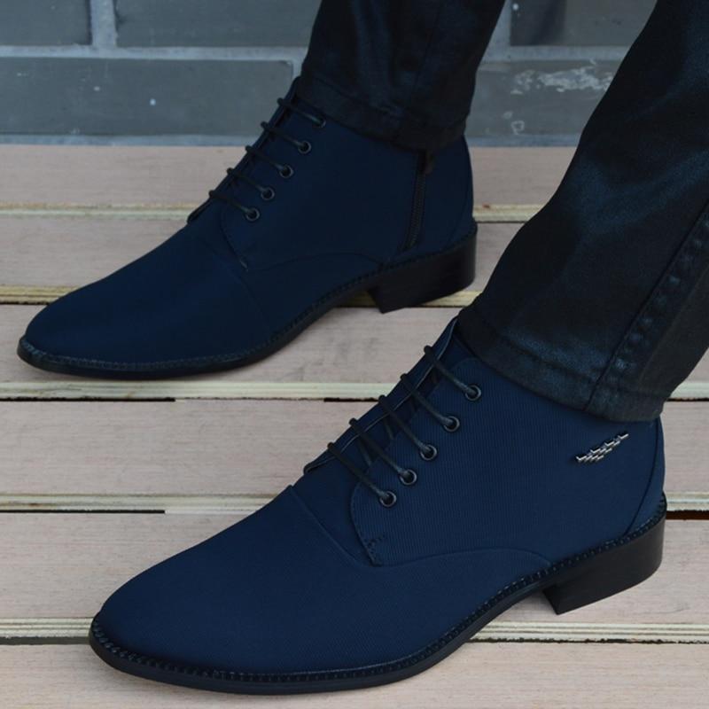 الخريف الشتاء الرجال الأحذية تنفس أشار تو الأعمال الأحذية الجلدية موضة قماش عالية كبار حذاء رجالي Zapatos Hombre عادية