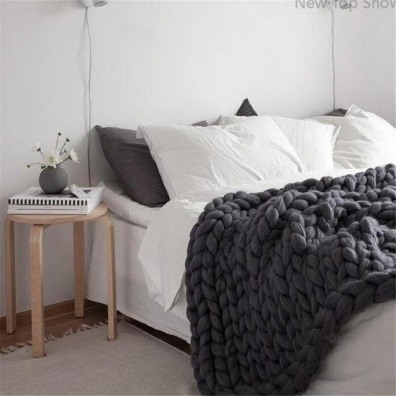 Nuevo Top mostrar manta de punto grueso tiro de brazo de punto de 100% Hilados de Islandia lana Extra cálido