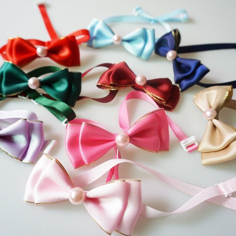 Милый золотой край ленты собачьи галстуки ручной работы полиэстер шеи галстук-бабочка для маленьких больших собак кошек ошейник аксессуары 9 видов цветов