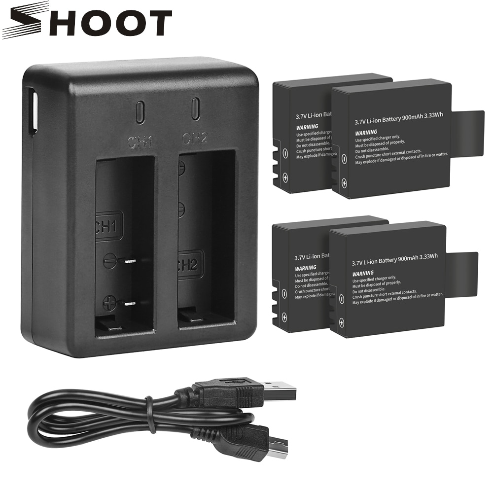 SHOOT Dual port зарядное устройство с аккумулятором 900 мАч для Sjcam Sj4000 Sj5000 M10 Sj 4000 5000 аксессуары для экшн-камеры Sjcam