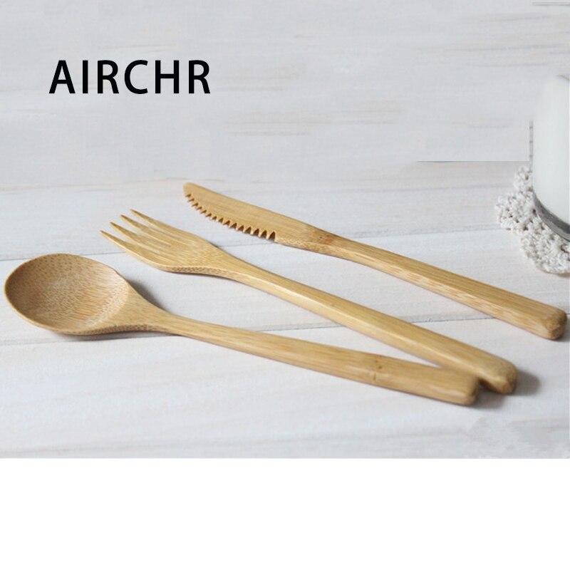 AIRCHR, recién llegado, vajilla de bambú, 30 Uds (10 juegos), juego de 100%, cuchara de bambú Natural, tenedor, vajilla de madera