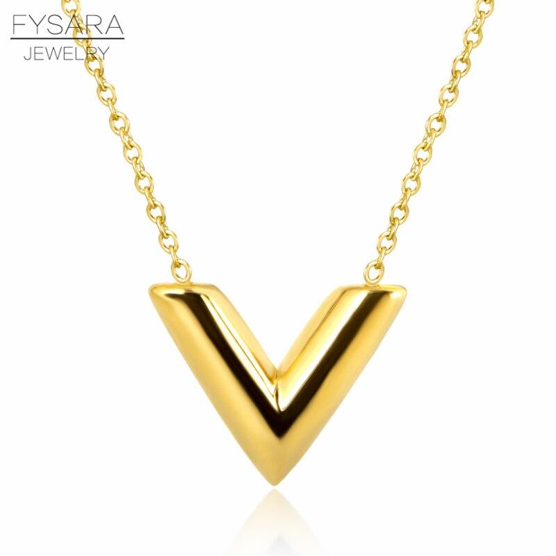 Joyería clásica de acero inoxidable FYSARA, collares con forma de V triangular, collar con colgante de letra para mujeres, gargantillas de declaración de oro