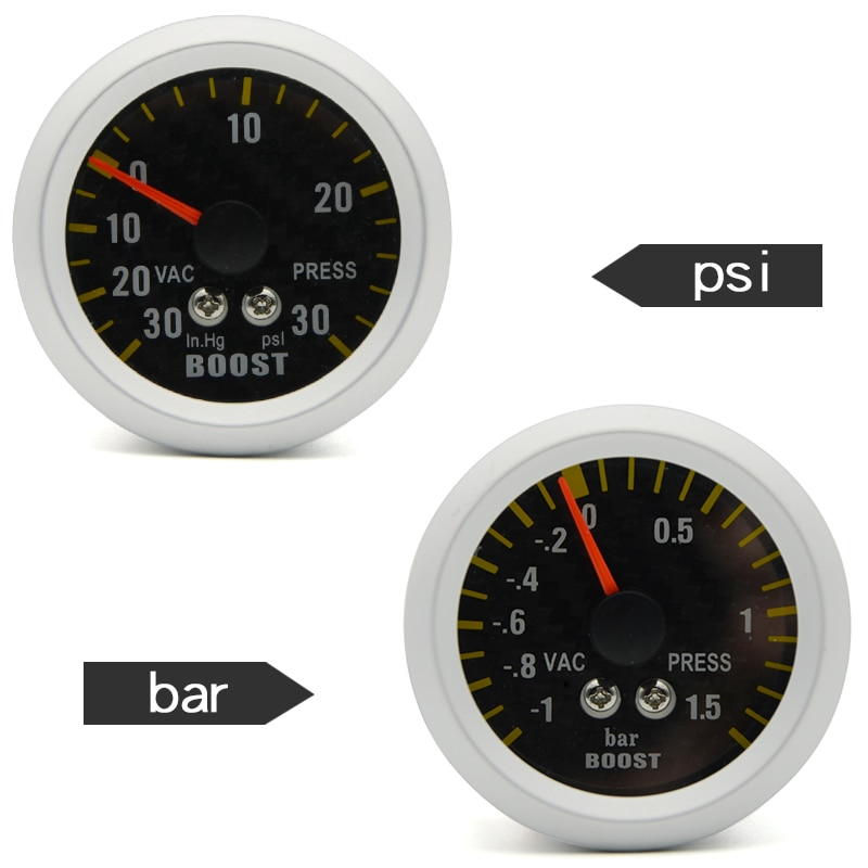 "2"" 52mm Auto Car Turbo Boost  Gauge Analog Carbon Fibre Face -1~1.5 BAR/-30~30 PSI  Meter White Background Light"