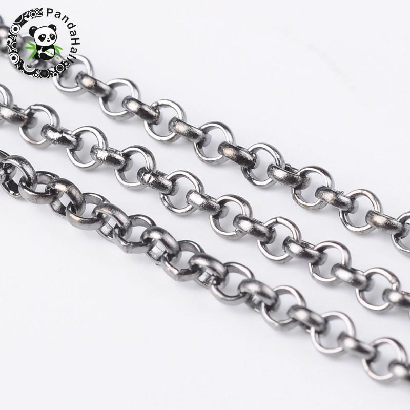 Cadena de Rolo de hierro, sin soldadura, sin plomo, sin plomo, bobina, tamaño Cadena aproximadamente 2,5mm de diámetro, 1mm de espesor, 100 M/rollo