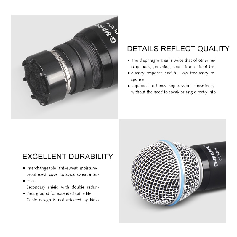 G-MARK D4 Microphone Wireless Professional UHF Dynamic Mic Automatic Frequency For Party Stage Church Show enlarge