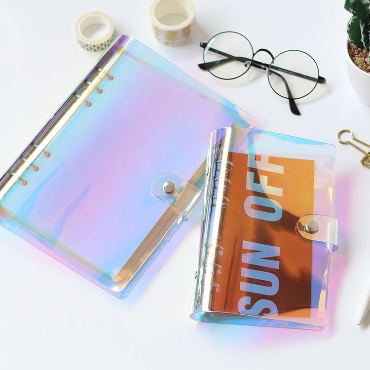 Laser PVC espiral transparente Agenda viajero cuaderno hoja Shell escuela DIY 6 archivador con agujeros planificador diario cubierta A5 A6