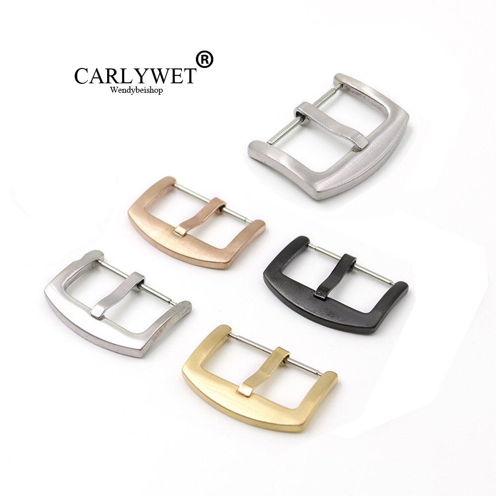 CARLYWET 18 20 22 24mm 316L acero inoxidable cepillado mate 3mm Tang lengüeta pasador de reemplazo reloj hebilla para Rolex Omega IWC
