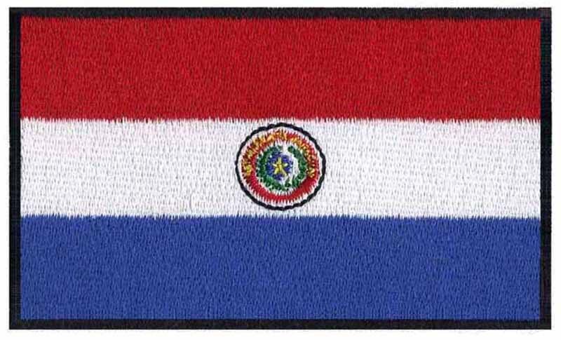 Bandera bordada de Paraguay de 3 pulgadas de ancho/my chemical romance/parches de pvc/Tela de encaje