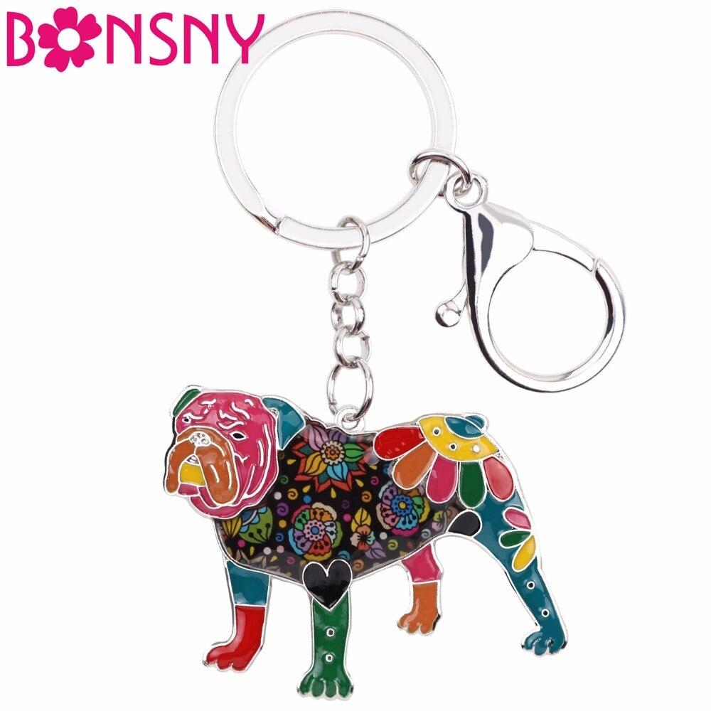 Брелоки цепочки Bonsny, эмалированные, английские, Bulldog, Bull Terrier, модные украшения для женщин и девочек, Подарочная сумка для автомобиля, подвеска