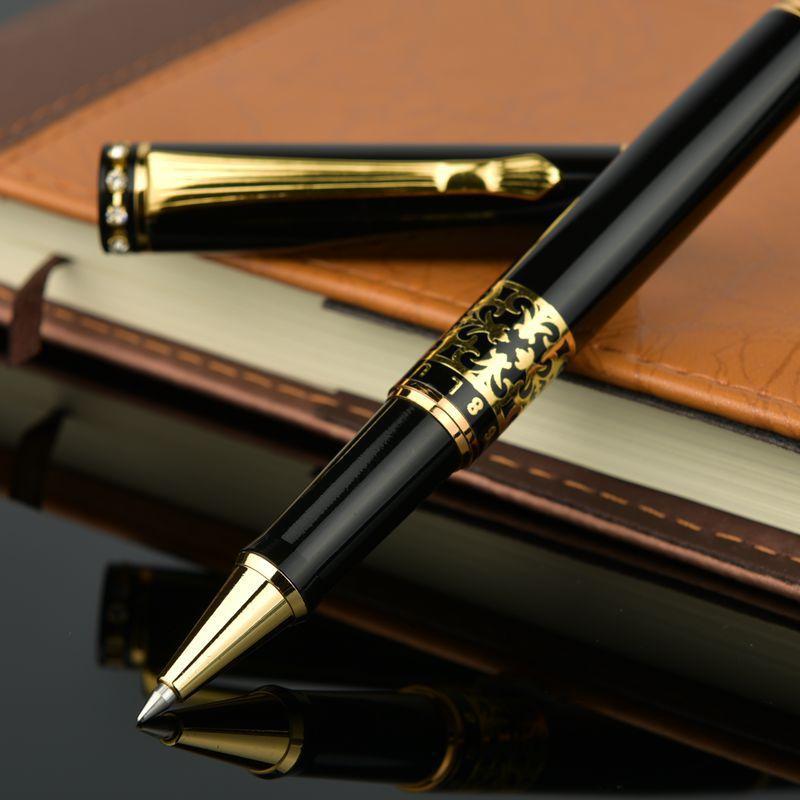Bolígrafo de Metal negro con cabezal de diamante de alta calidad con grabado en oro MB, bolígrafo Rollerball para regalo + repuesto Extra 1 gratis