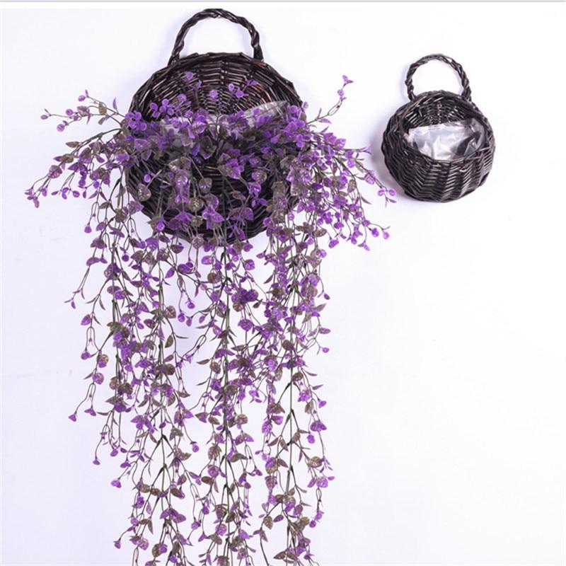 Cesta de 20x23 cm hecha a mano, cestas de flores artificiales, recipiente de almacenamiento para pared, organizador colgante de mimbre, cesta de Picnic de ratán