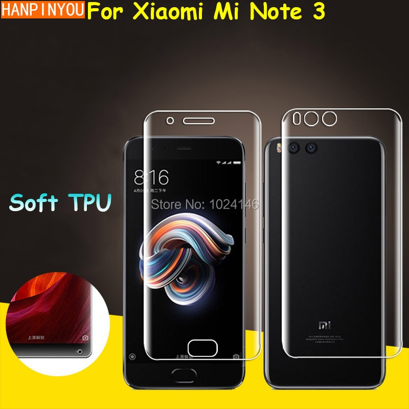 Front/Back Full Coverage Clear Soft TPU Film Screen Protector For Xiaomi Mi Note 3 5.5