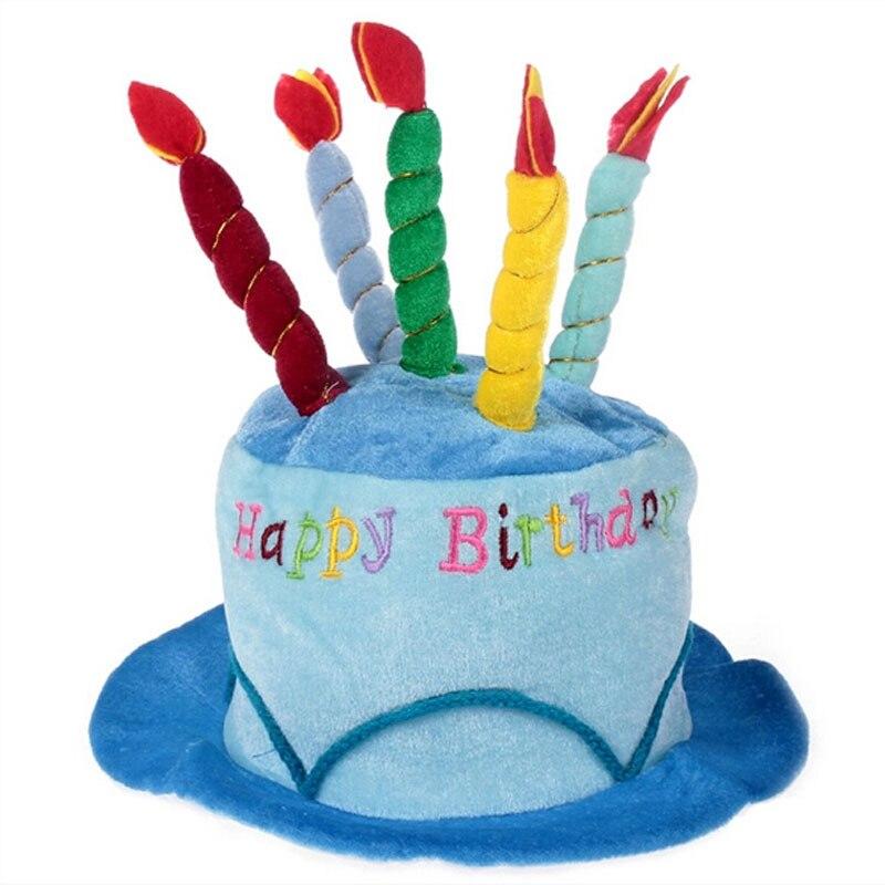 Birthday Cake Candle Hat Short Plush Adult Party Amusement Park Supplies Performing Dress Props Cap