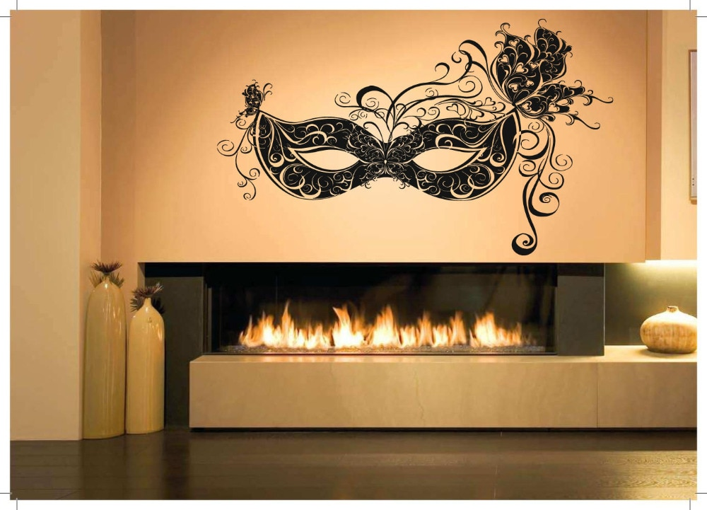Pared habitación decoración arte vinilo pegatina Mural calcomanía veneciana carnaval máscara grande