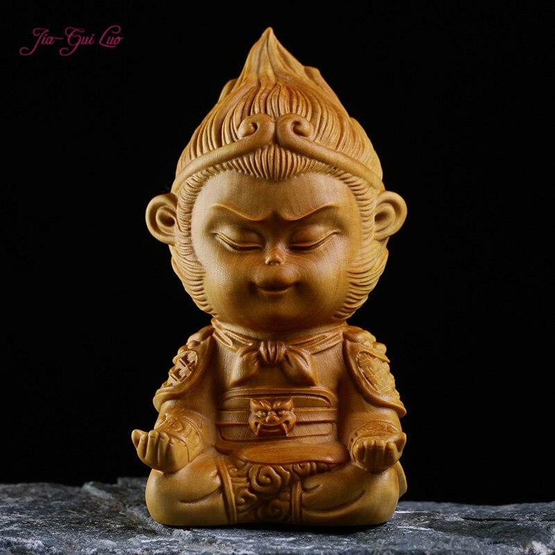 JIA-GUI LUO, artesanía de madera de boj creativa, modelo de mono, decoración del hogar de estilo chino, tallado en madera, Sol Wukong A003