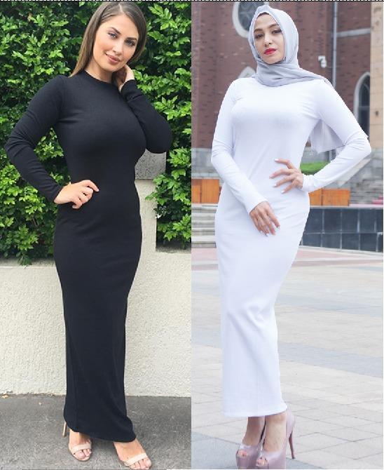 Dubai Abaya-maxivestido con mangas largas, mujer musulmana, ajustada, de Color sólido, ceñido, lápiz, Kaftan Jilbab, Túnica islámica, árabe de Oriente Medio